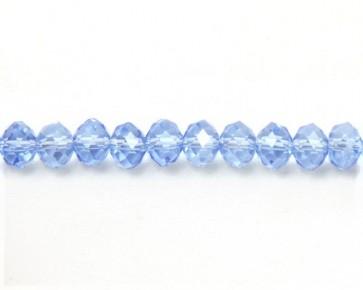Glasschliffperlen, 8 mm, Rondelle facettiert, hellblau mit Lüster (bedampft), 50 Perlen