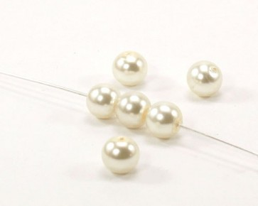 Glaswachsperlen, Glasperlen, 8 mm, rund, cremeweiss, 50 Perlen