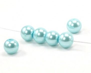 Glaswachsperlen, 10 mm, rund, hellblau / türkis, 40 Perlen