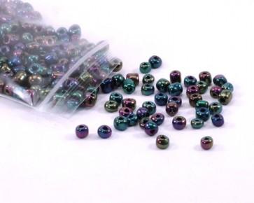 Rocailles, Saatperlen, 4 mm, opak, blau-grün-violett irisierend, 20 g