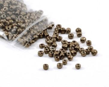 Rocailles Perlen, Saatperlen, 4 mm, opak, bronze metallic, 20 g
