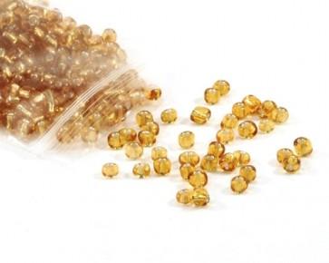 Rocailles Perlen, Saatperlen, 4 mm, Silbereinzug, gold-gelb, 20 g