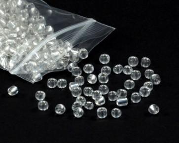 Rocailles Perlen, Saatperlen, 4 mm, transparent mit Silbereinzug, 20 g