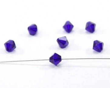 Glasschliffperlen, 8 mm, Bicone, kobaltblau, 20 Perlen