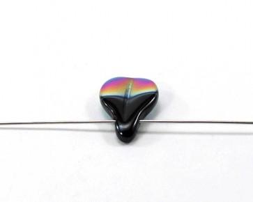 Glasperlen Tropfen, schwarz AB galvanisiert, 19x13mm, 10 Glastropfen