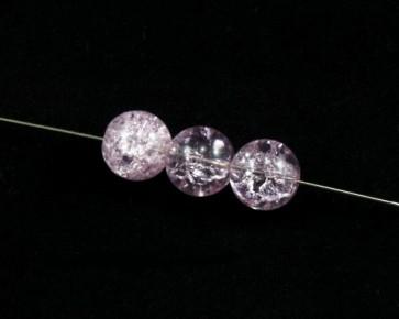 Crackle Glasperlen, 11 mm, rund, rosa, 10 Perlen