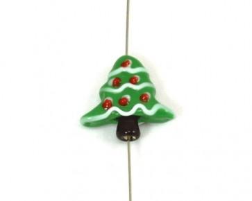 Lampwork Glasperlen, grüner Weihnachtsbaum, 22 x 20 mm