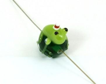 Lampwork Glasperlen, Weihnachts-Frosch, grün, 24 x 20 mm, 1 Perle