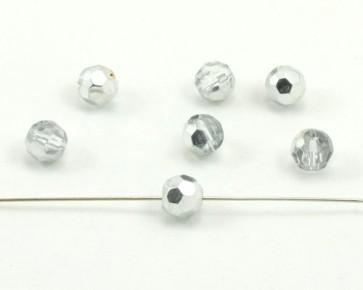 Glasschliffperlen, 8 mm, rund, kristall-silber, 25 Glasperlen