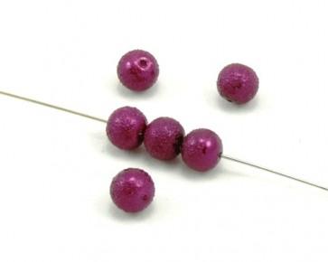 Glaswachsperlen, Glasperlen, Krepp-Perlen, rund, 8mm, weinrot, 50 Perlen