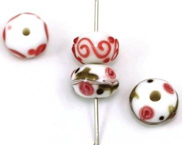 Lampwork Glasperlen, Rondellen weiss-pink-grün, 14x10mm, 4 Perlen