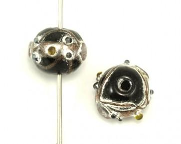 Lampwork Glasrondellen, schwarz-silber-gold, 12x10mm, 5 Glasperlen