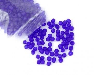 Rocailles Perlen, Saatperlen, 4mm, rund, royal-blau gefrostet, 20 g