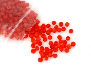 Rocailles Perlen, Saatperlen, 4mm, rund, rot gefrostet, 20 g