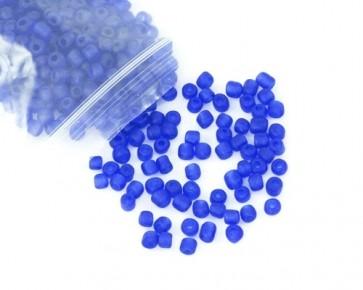 Rocailles Perlen, Saatperlen, 4mm, rund, matt blau gefrostet, 20 g