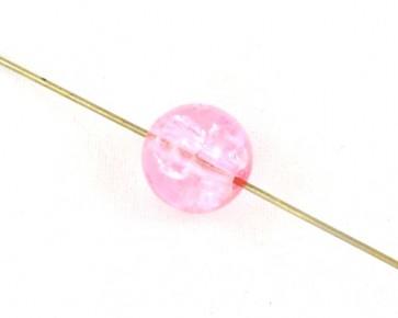 Crackle Glasperlen, 10mm, rund, pink / rosa, 50 Perlen