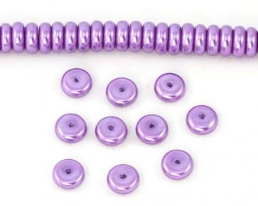 Glaswachsperlen, 8 x 3 mm, Rondellen, Buttons, violett, 50 Glasperlen