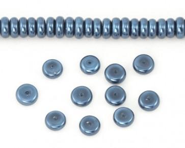 Glaswachsperlen, 8 x 3 mm, Rondellen, Buttons, dunkelblau, 50 Glasperlen