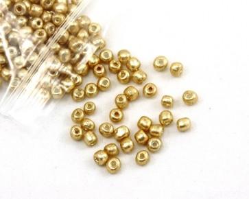 Rocailles Perlen, Saatperlen, opak gold, 4mm, rund, 20g