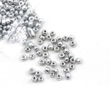 Rocailles Perlen, Saatperlen, 4mm, rund, opak silberfarbig, 20g