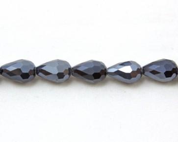 Glasschliffperlen, Glasperlen Tropfen facettiert, blau-schwarz mit Lüster, 12 x 8 mm, 20 Perlen