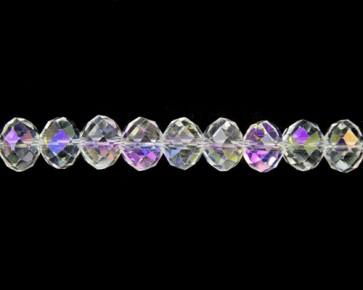 Glasschliffperlen, Rondellen facettiert kristall transparent AB, 7 x 10 mm, 50 Perlen