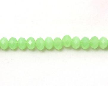 Glasschliffperlen, Glas-Rondellen facettiert, 6mm, hellgrün opak, 50 Perlen