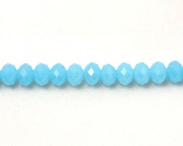 Glasschliffperlen, facettierte Glas-Rondelle, 8 mm, hellblau opak, 50 Perlen