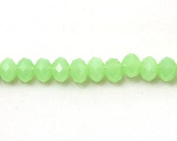 Glasschliffperlen, facettierte Glas-Rondelle, 8 mm, hellgrün opak, 50 Perlen