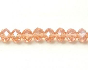 Glasschliffperlen, 7 x 10 mm Rondellen facettiert, lachs-rosa mit Lüster