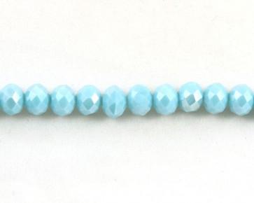 Glasschliffperlen, facettierte Glasrondelle, 8 mm, türkis opak mit Lüster, 50 Perlen
