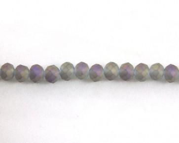 Glasschliffperlen, Glasrondellen facettiert, 6mm, matt grau-violett iris, 98 Perlen
