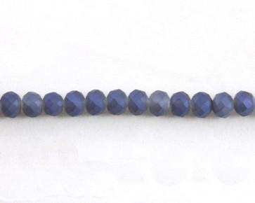 Glasschliffperlen, Glasrondellen facettiert, 6mm, royalblau seidenmatt gefrostet, 98 Perlen