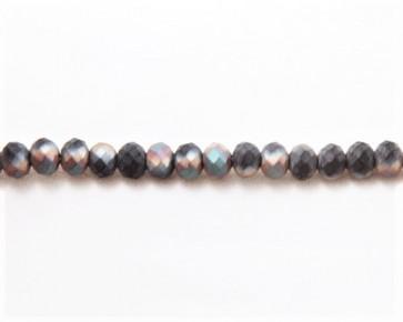 Glasschliffperlen, Glasrondellen facettiert, 6mm, schwarz irisierend seidenmatt gefrostet, 98 Perlen