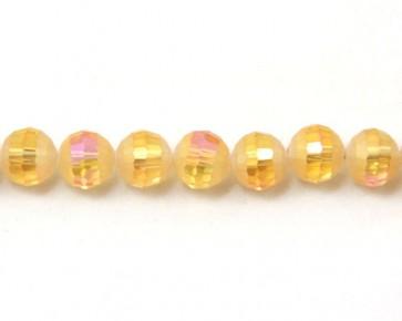 Glasschliffperlen, facettierte Glasperlen, 10mm, matt gold-gelb / kristall AB irisierend, 20 Perlen