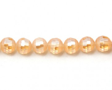 Glasschliffperlen, facettierte Glasperlen, 10mm, matt lachs-rosa / kristall AB irisierend, 20 Perlen