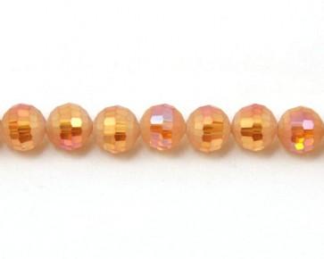 Glasschliffperlen, facettierte Glasperlen, 10mm, matt rot-orange / kristall AB irisierend, 20 Perlen