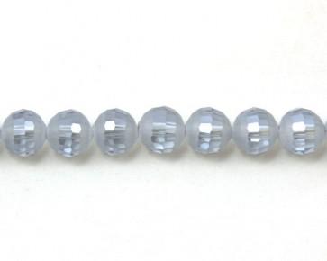 Glasschliffperlen, facettierte Glasperlen, 10mm, matt grau-blau / kristall AB irisierend, 20 Perlen