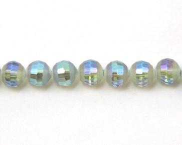 Glasschliffperlen, facettierte Glasperlen, 10mm, matt blau-grün / kristall AB irisierend, 20 Perlen