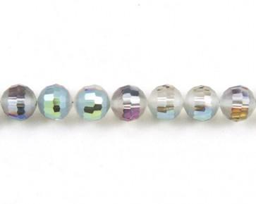 Glasschliffperlen, facettierte Glasperlen, 10mm, matt peacock / kristall AB irisierend, 20 Perlen