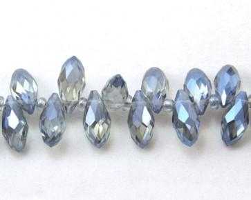 Glasschliffperlen, Glasperlen Tropfen facettiert, 12 x 6 mm, blau metallic irisierend, 10 Perlen