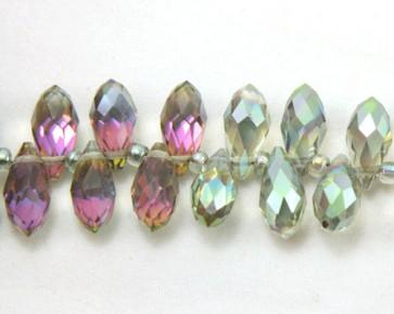 Glasschliffperlen, Glasperlen Tropfen facettiert, 12 x 6 mm, peacock metallic irisierend, 10 Perlen