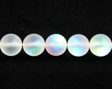 Gefrostete Mondstein Perlen Imitation, Glas, 10mm, rund, matt weiss iris, 1 Perlenstrang