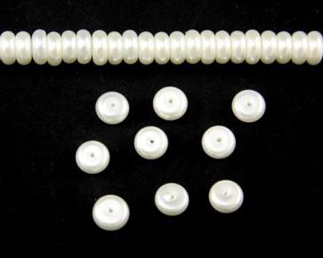Glaswachsperlen, Glasrondellen, 8 x 3 mm, Button, weiss, 50 Stk.