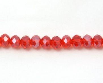 Glasschliffperlen, Glas-Rondellen facettiert, 4mm, rot mit Lüster, 100 Perlen