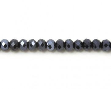 Glasschliffperlen, Glas-Rondellen facettiert, 4mm, blau-schwarz mit Lüster, 100 Perlen