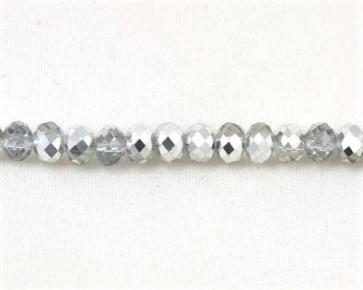 Glasschliffperlen, Glas-Rondellen facettiert, 4mm, kristall / silber, 100 Perlen