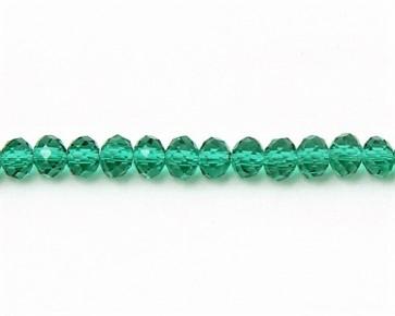 Glasschliffperlen, Glas-Rondellen facettiert, 4mm, smaragd-grünmit Lüster, 100 Perlen