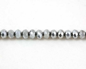 Glasschliffperlen, Glas-Rondellen facettiert, 4mm, silber, 100 Perlen
