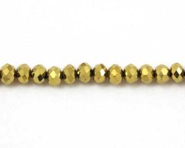 Glasschliffperlen, 6mm, Rondellen facettiert, gold, 50 Perlen
